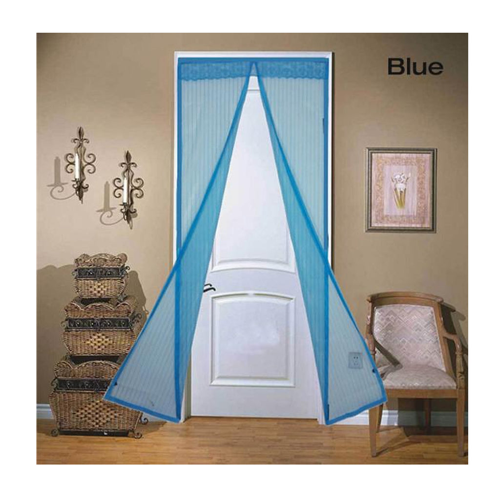 Magnetic Mesh Insect Screen Door - Blue - Gadgets