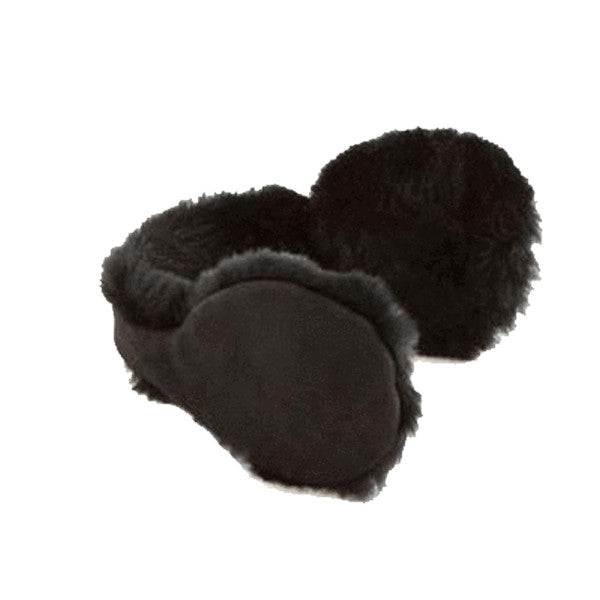 Womens Faux Fur Insulated Winter Ear Muffs - Black - Fashionwomen
