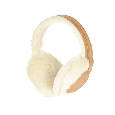 Image of Womens Faux Fur Insulated Winter Ear Muffs - Brown/white - Fashionwomen