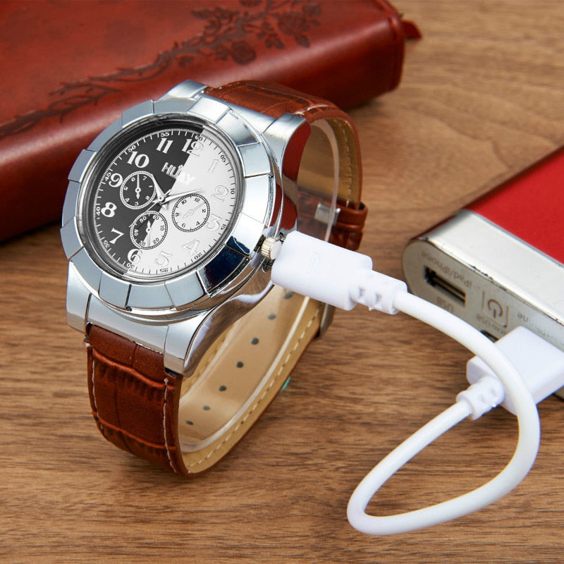 Flameless Windproof Cigarette Lighter Watch - Gadgets