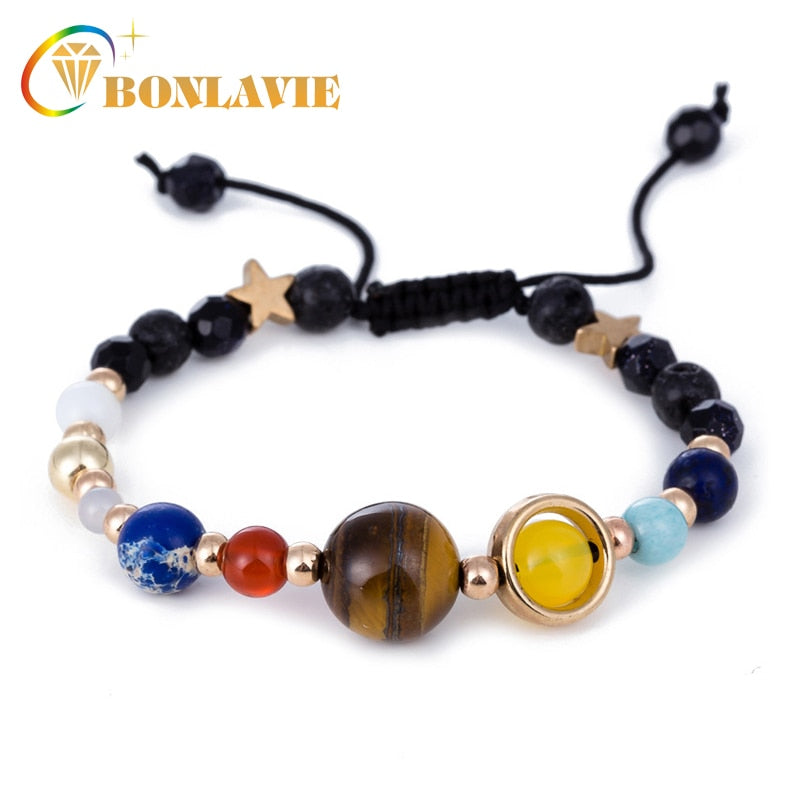 Fashion Universe Galaxy The Eight Planets Solar System Guardian Star Natural Stone Beads Bracelet Bangle For Women Men Gift - Jewelry