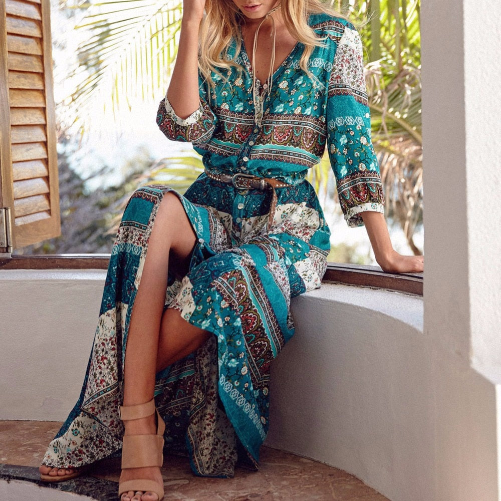 Women Long Maxi Dresses Bohemia V-Neck Three Quarter Sleeve Floral Print Ethnic Summer Beach Female Split Stylish Style Dress - Fashionwomen