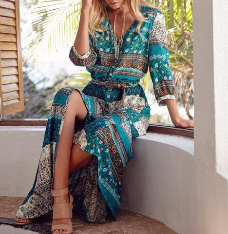 Image of Women Long Maxi Dresses Bohemia V-Neck Three Quarter Sleeve Floral Print Ethnic Summer Beach Female Split Stylish Style Dress - Green / L -