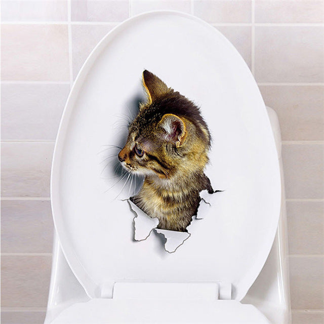 Bathroom Toilet Kicthen Decorative Decals With Funny Cat - G-Xh2002 - Gadgets