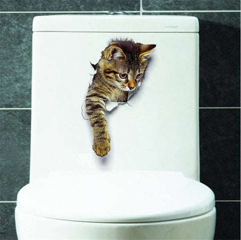 Image of Bathroom Toilet Kicthen Decorative Decals With Funny Cat - H-Xh2003 - Gadgets