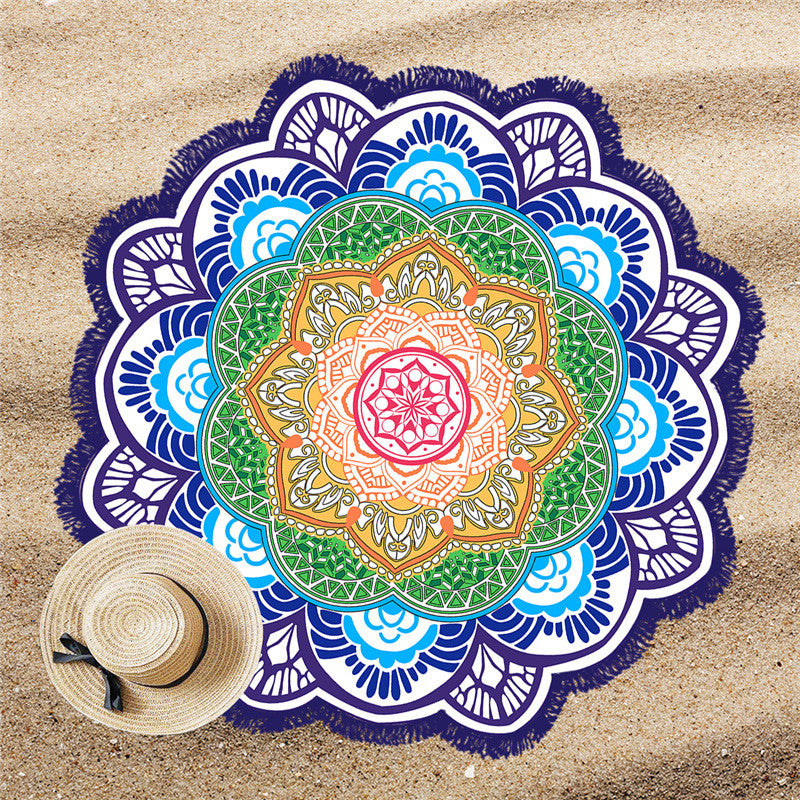 BeddingOutlet Tassel Indian Toalla Mandala Beach Towel Sunblock Round Bikini Cover-Up Blanket Lotus Bohemian Picnic Mat