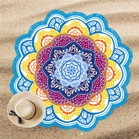 Image of BeddingOutlet Tassel Indian Toalla Mandala Beach Towel Sunblock Round Bikini Cover-Up Blanket Lotus Bohemian Picnic Mat