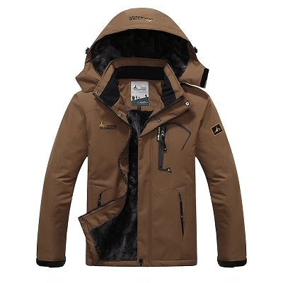 Mens Winter Waterproof Jacket - Coffee / L - Fashionmen