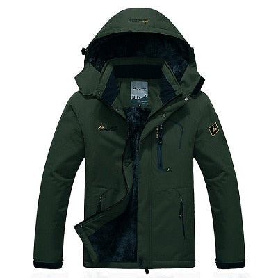 Mens Winter Waterproof Jacket - Army Green / L - Fashionmen