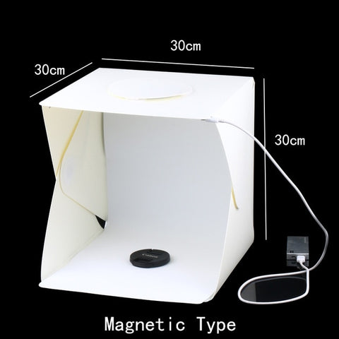 Image of Portable Folding Studio Diffuse Soft Box With LED Light Black White Photography Background Photo Studio box