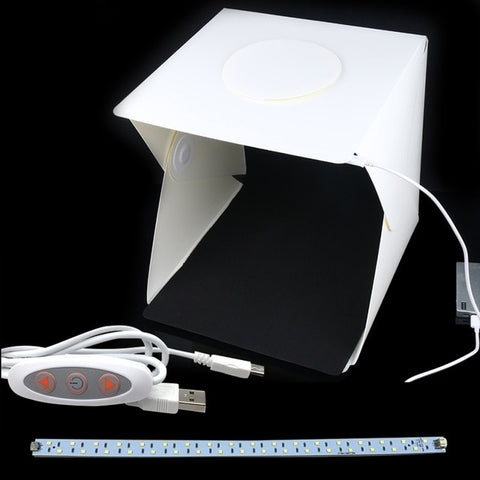 Image of Portable Folding Studio Diffuse Soft Box With Led Light Black White Photography Background Photo Studio Box - M Add 1 Cable 1 Led - Gadgets
