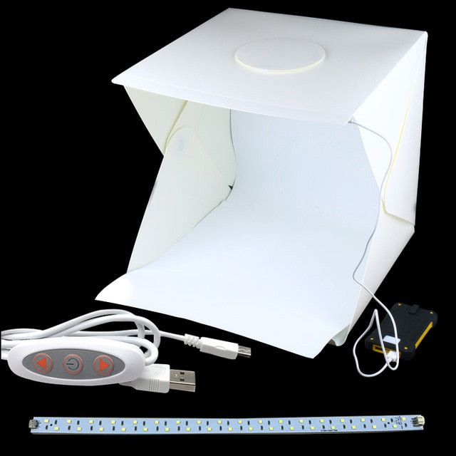 Portable Folding Studio Diffuse Soft Box With Led Light Black White Photography Background Photo Studio Box - L Add 1 Cable 1 Led - Gadgets