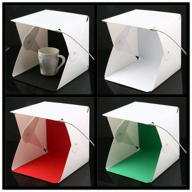 Portable Folding Studio Diffuse Soft Box With Led Light Black White Photography Background Photo Studio Box - New L 4 Colors - Gadgets