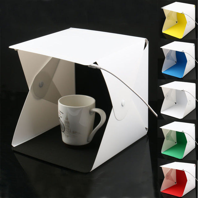 Portable Folding Studio Diffuse Soft Box With Led Light Black White Photography Background Photo Studio Box - New L 6 Colors - Gadgets