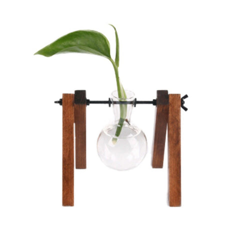 Creative Wooden Frame Hydroponic Green Transparent Glass Vase For Desktop - A1 - Hydroponic