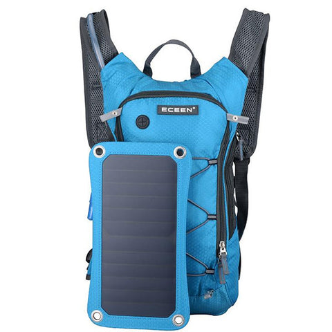 Image of Solar Charger And Hydration Backpack - Blue - Gadgets