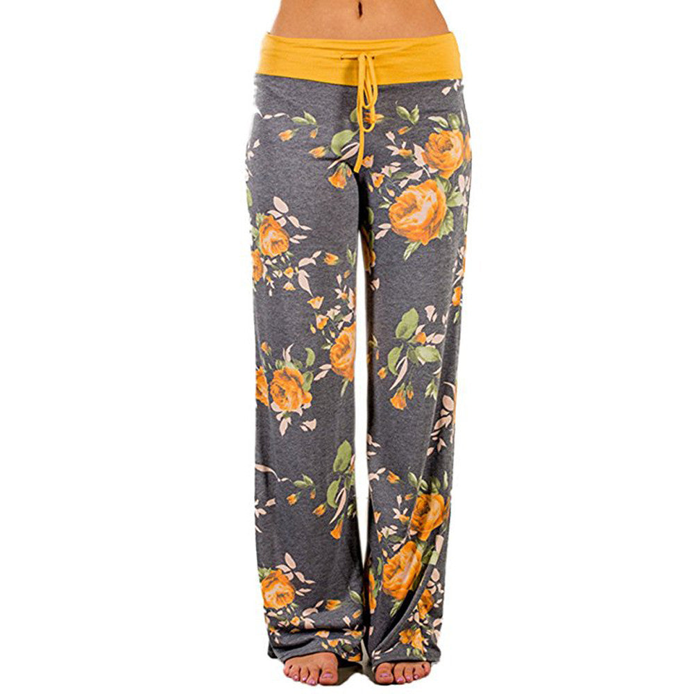 Womens Palazzo Wide Leg Lounge Pants - Yellow / L - Fashionwomen
