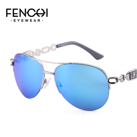 Fenchi Sunglasses Women Driving Pilot Classic Vintage Eyewear Sunglasses High Quality Metal Brand Designer Glasses Uv400 - C3 Blue -