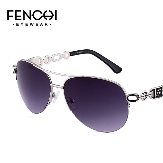 Fenchi Sunglasses Women Driving Pilot Classic Vintage Eyewear Sunglasses High Quality Metal Brand Designer Glasses Uv400 - C4 Grey -