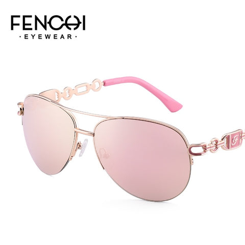 Image of Fenchi Sunglasses Women Driving Pilot Classic Vintage Eyewear Sunglasses High Quality Metal Brand Designer Glasses Uv400 - C1 Pink -