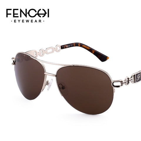 Fenchi Sunglasses Women Driving Pilot Classic Vintage Eyewear Sunglasses High Quality Metal Brand Designer Glasses Uv400 - C2 Brown -