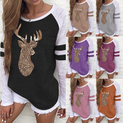 Festival Christmas Womens Reindeer Blouses T-Shirt Xmas Long Sleeve Tops - Christmas