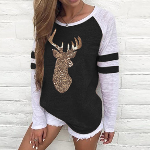 Festival Christmas Womens Reindeer Blouses T-Shirt Xmas Long Sleeve Tops - Black / L - Christmas