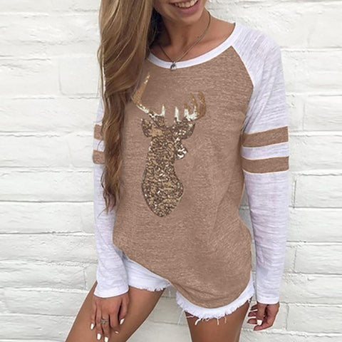 Festival Christmas Womens Reindeer Blouses T-Shirt Xmas Long Sleeve Tops - Khaki / L - Christmas