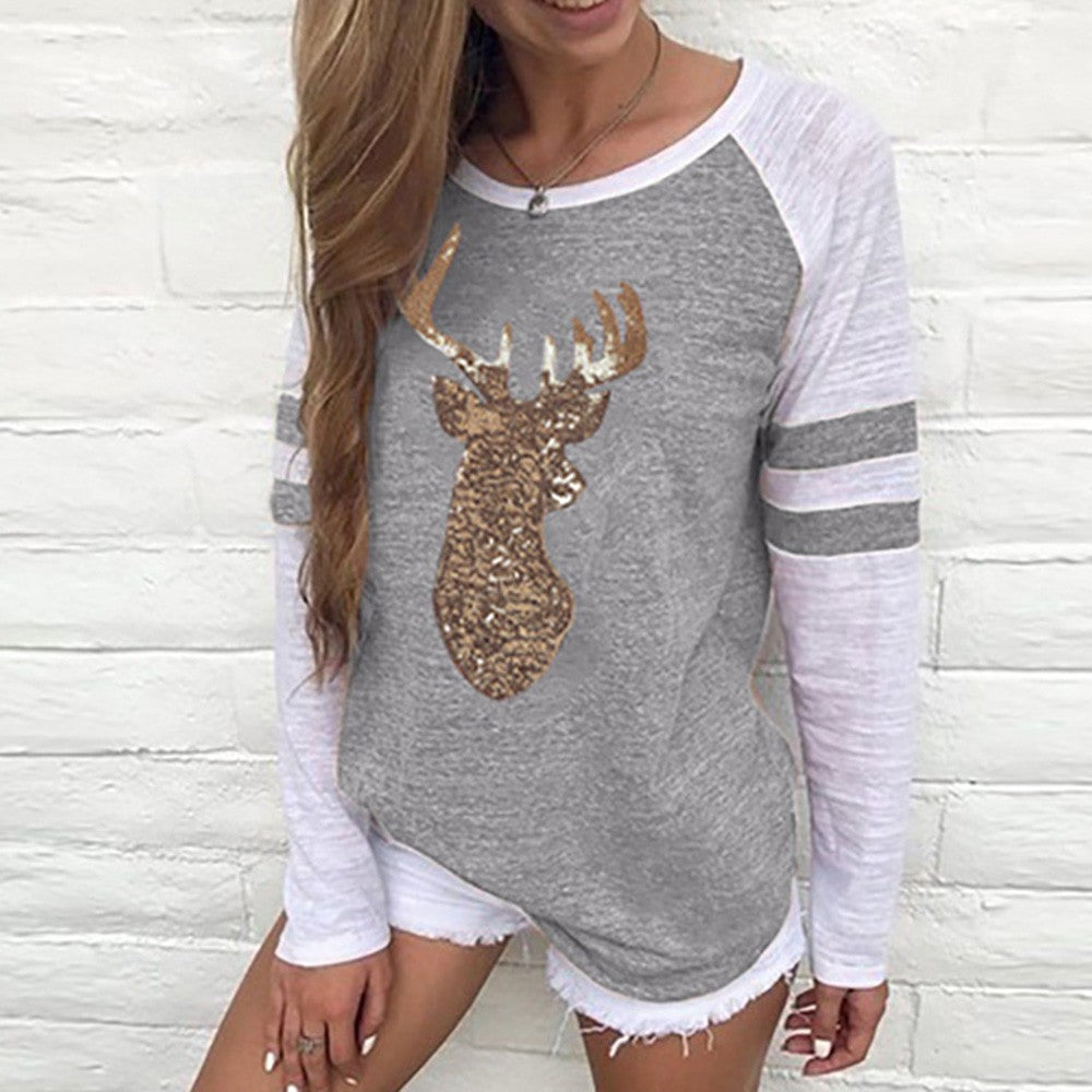Festival Christmas Womens Reindeer Blouses T-Shirt Xmas Long Sleeve Tops - Gray / L - Christmas