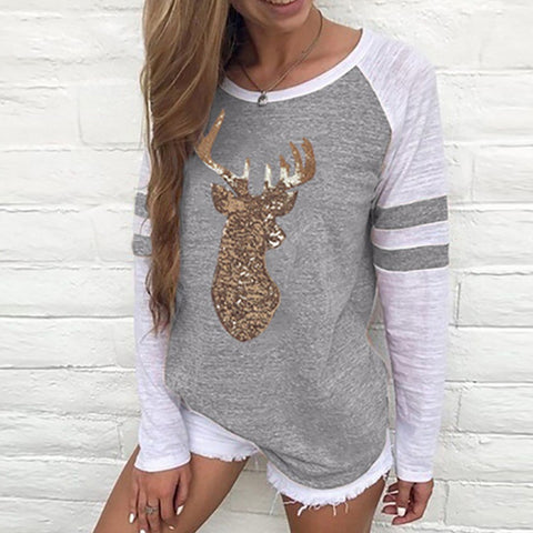 Image of Festival Christmas Womens Reindeer Blouses T-Shirt Xmas Long Sleeve Tops - Gray / L - Christmas