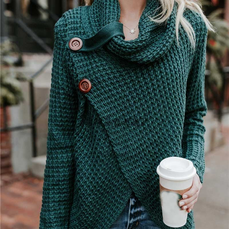 Women Sweater Knitted - Long Sleeve - Dark Green / S - Fashionwomen