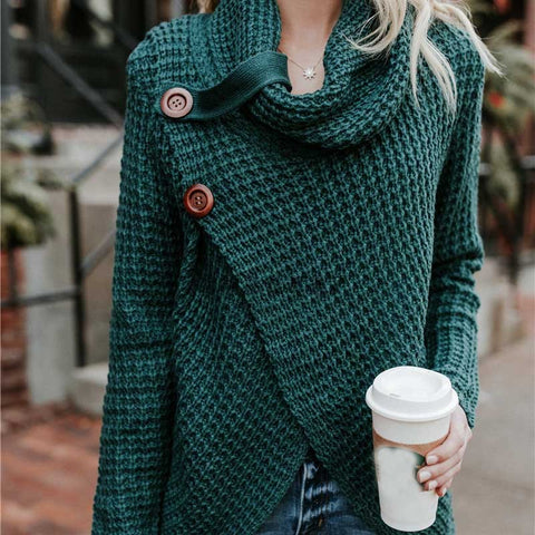 Image of Women Sweater Knitted - Long Sleeve - Dark Green / S - Fashionwomen