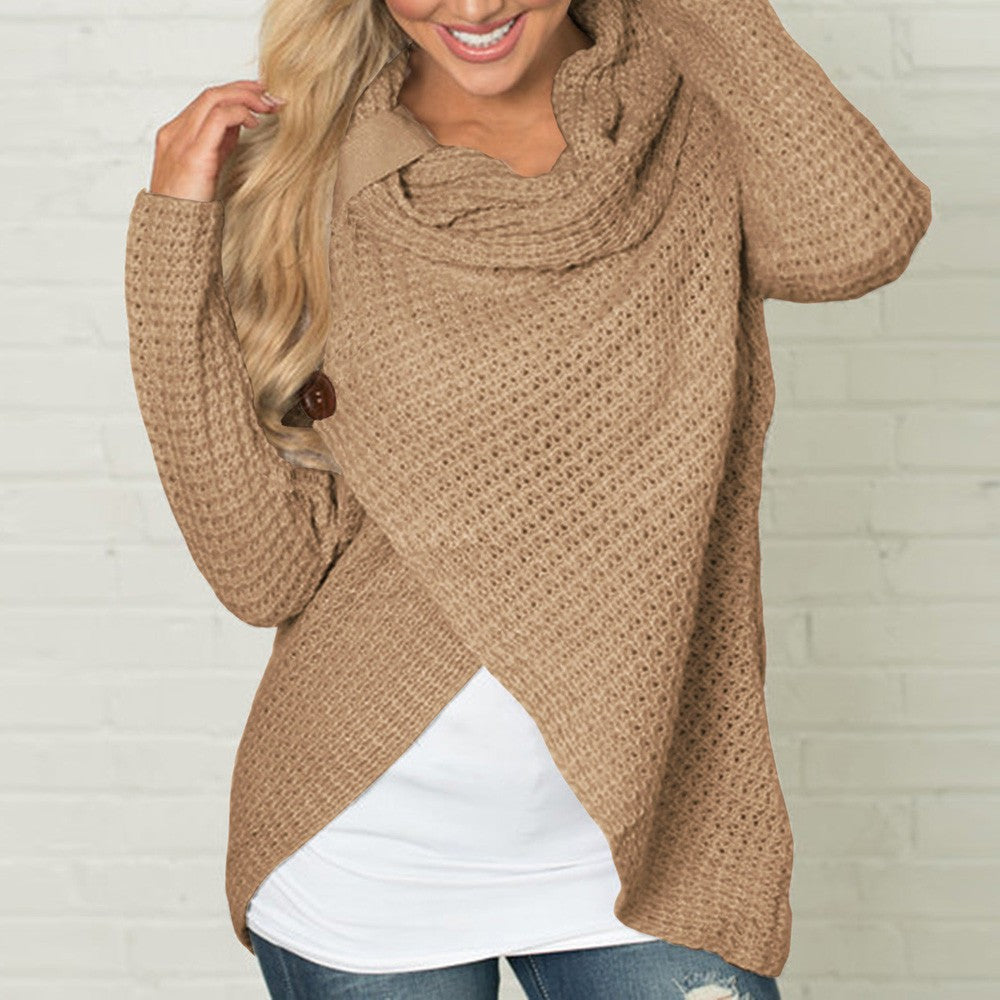 Women Sweater Knitted - Long Sleeve - Khaki / S - Fashionwomen