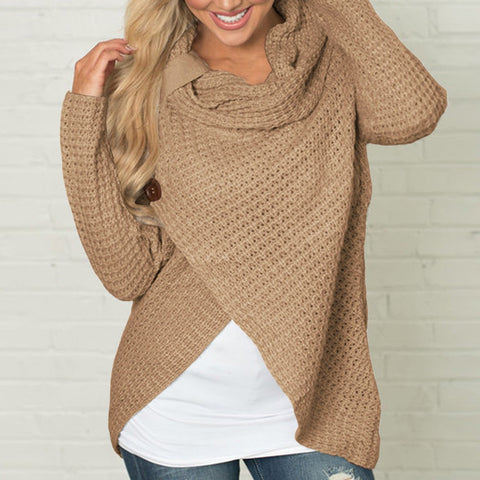 Image of Women Sweater Knitted - Long Sleeve - Khaki / S - Fashionwomen