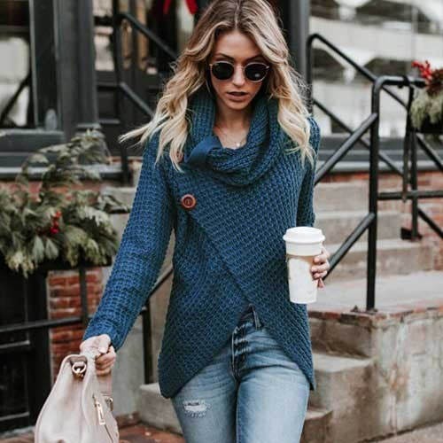 Women Sweater Knitted - Long Sleeve - Peacock Blue / S - Fashionwomen