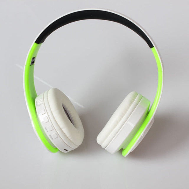Wireless Headphones Bluetooth For Pc And Phone Music - Green White - Gadgets