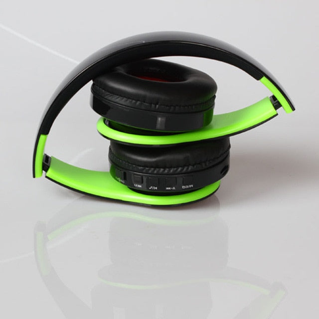 Wireless Headphones Bluetooth For Pc And Phone Music - Green Black - Gadgets