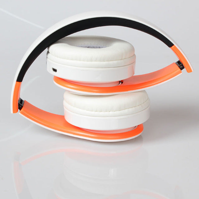 Wireless Headphones Bluetooth For Pc And Phone Music - Orange White - Gadgets