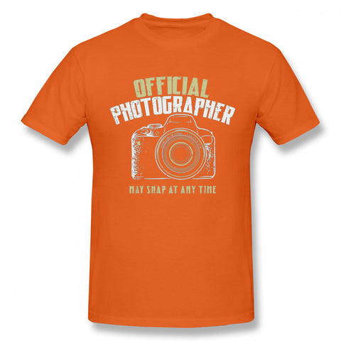 Pour Homme Photographe Reflex Camera T Shirt Retro - Orange / XL - Appareil photo