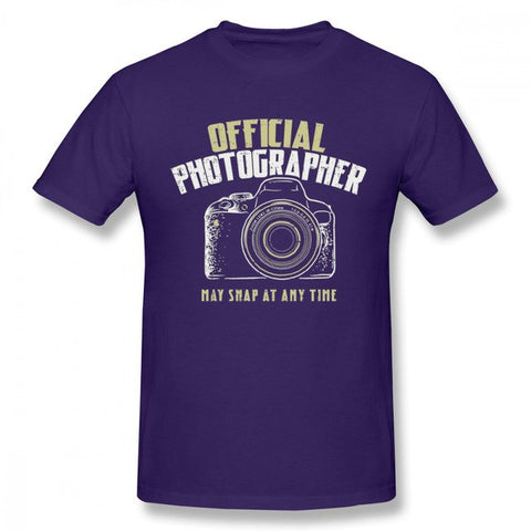 Pour Homme Photographe Reflex Camera T Shirt Retro - Violet / Xxxl - Appareil photo
