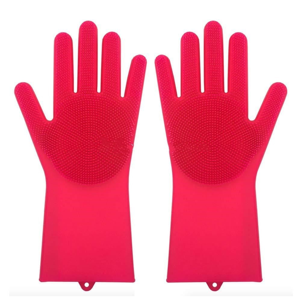 Cleaning Brush And Scrubber Gloves - Red - Gadgets
