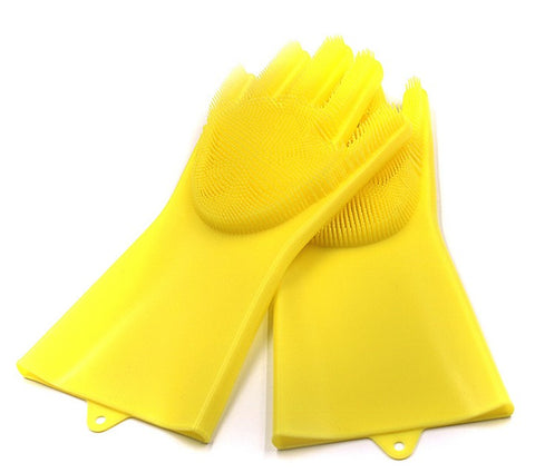 Image of Cleaning Brush And Scrubber Gloves - Yellow - Gadgets