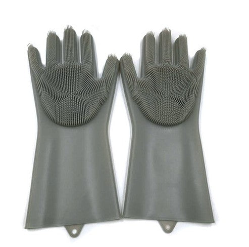 Cleaning Brush And Scrubber Gloves - Grey - Gadgets