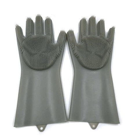 Image of Cleaning Brush And Scrubber Gloves - Grey - Gadgets