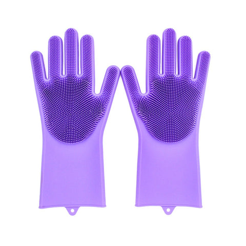 Image of Cleaning Brush And Scrubber Gloves - Purple - Gadgets