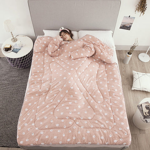 Image of Winter Lazy Quilt With Sleeves - Pink / 150X200Cm - Lazyquilt