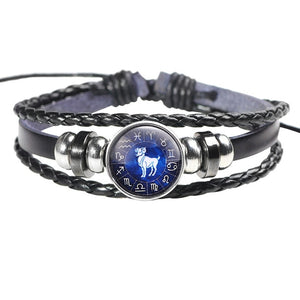 Twelve constellation leather bracelet