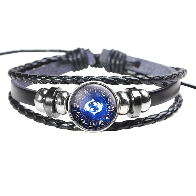 Twelve Constellation Leather Bracelet - E - Jewelry
