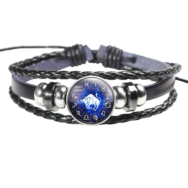 Twelve Constellation Leather Bracelet - H - Jewelry
