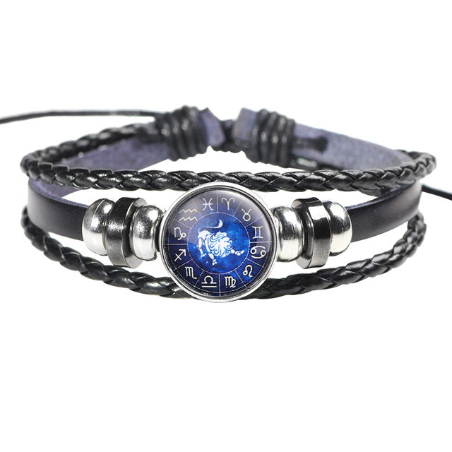 Twelve Constellation Leather Bracelet - J - Jewelry